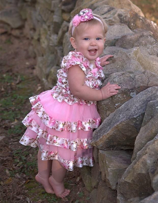 Baby Girl Easter Dresses Infant Girl Pink Floral Chiffon