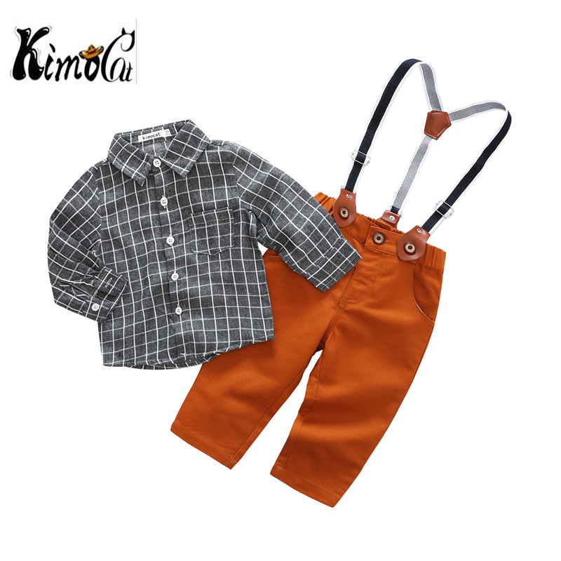 Kimocat New Spring and autumn Fashion handsome baby boy clothes 2pcs (overalls+ shirt) kids clothes boys