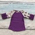 Детские Осень/зима девушки половины рукав обледенения хлопок фиолетовый бутик печати топ Футболка оборками одеёда нинбо детские детская одежда
