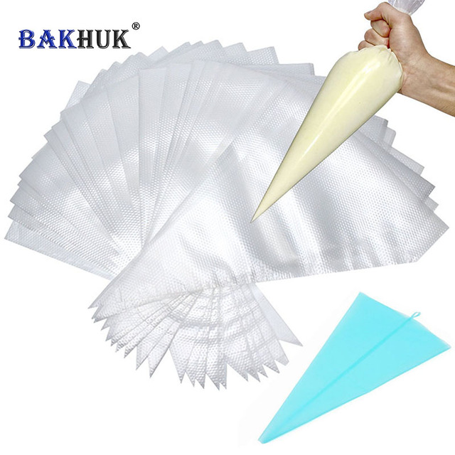 Bakhuk 100pcs 33cm Disposable Pastry Bags For Decorating Baking Tools 1pc 35cm Reusable