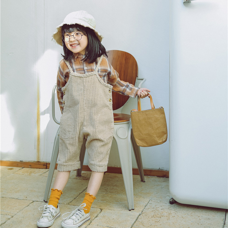 0fde146694b WNLEIGEL 2018 spring autumn boys girls corduroy overalls kids beige coffee  casual clothes baby fashion trousers children 1 7T-in Overalls from Mother    Kids ...