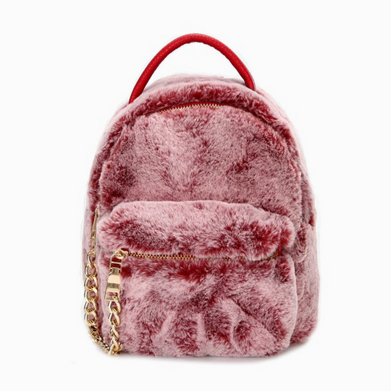 Fashion Backpack Women Rabbit Fur Plush Mini Backpack Winter Leather Patchwork Portable Lady Shoulder Bag Luxury Children Ba