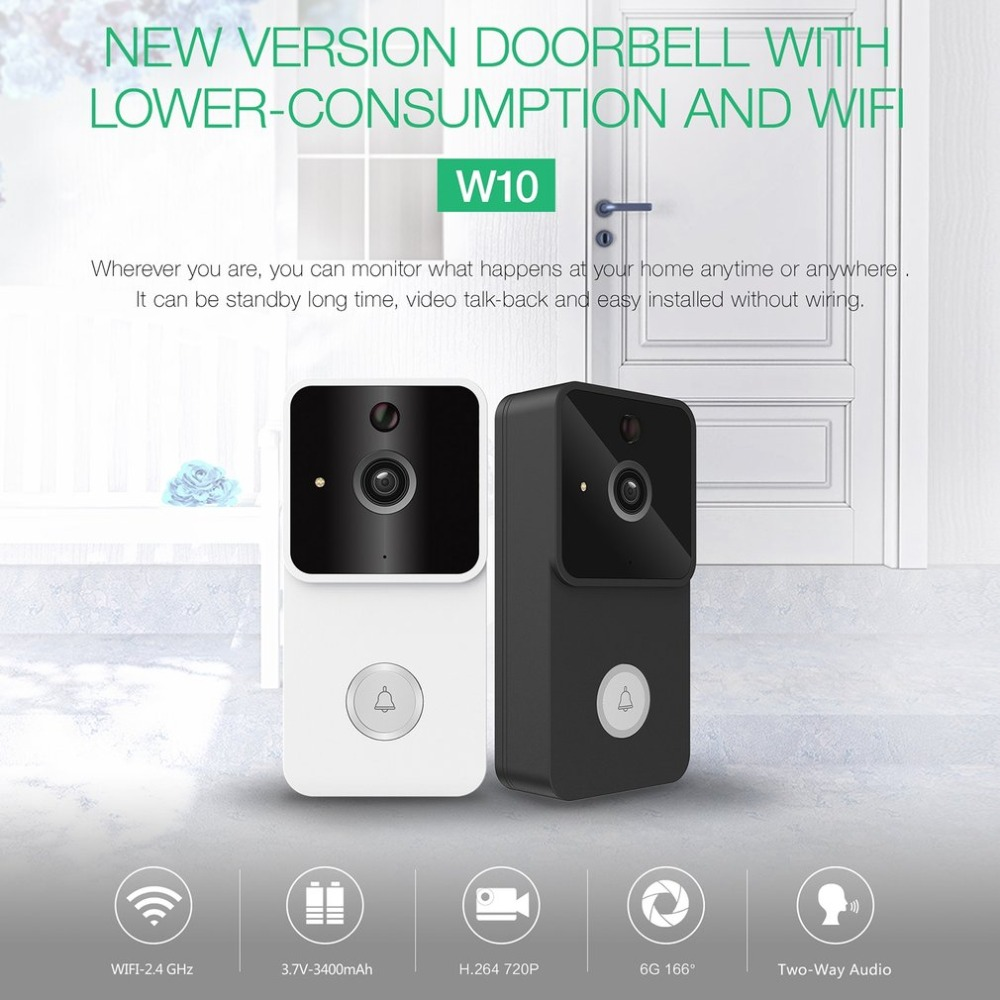 W10 WIFI Doorbell 720P Infrared Night Vision 1.7mm Lens PIR Detection Home Security System Low Power Consumption NEW ArrivalW10 WIFI Doorbell 720P Infrared Night Vision 1.7mm Lens PIR Detection Home Security System Low Power Consumption NEW Arrival