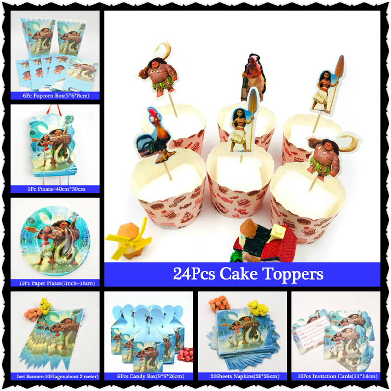 Moana Party Supplies Disposable TableCloth Cups Napkins Popcorn Box Favors Kids GirlMoana Birthday Party Supplies Decoration
