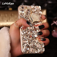 Lamakase Bling лисы кристалл горного хрусталя алмаз чехол для Iphone4S 5S 5C 6 6 S 7 7 P для SamsungN5 4 3 2 S8P S7E S6 S5 S4 S3 A8 3 5 7