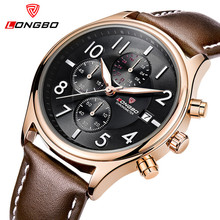 Top Watches Men LONGBO Luxury Brand Designer Leather Fashion Quartz-Watch Men Waterproof Sport Wristwatch Male Relogio Masculino