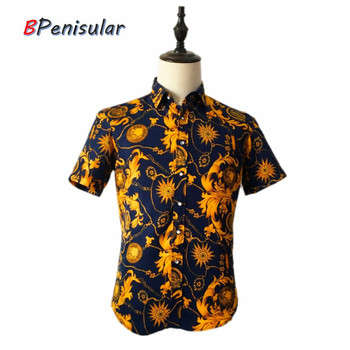 Men Shirts Summer Brand Short Sleeve Hawaiian Shirt Floral Medusa Shirt Mens Casual Vintage Gold Black Camisa Blusa Masculina hawaiian shirt men camisa social flower summer long sleeve new model shirts mens floral blouse men clothing
