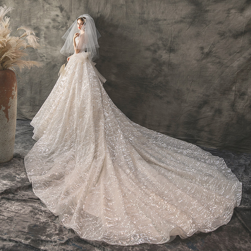 Image 3 - 2019 New Mrs Win Wedding Dress Sexy Strapless Ball Gown Luxury Bling Bling Beading Princess Vestido De Noiva Robe De Mariee F-in Wedding Dresses from Weddings & Events