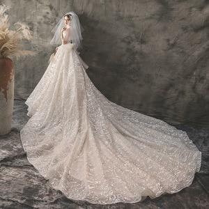 Image 3 - 2020 新夫人勝利ウェディングドレスセクシーなストラップレスの夜会服の高級ケバケバビーズ王女 Vestido デ Noiva ローブ · デのみ