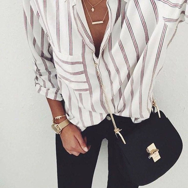 2017 Vertical Striped Blouses