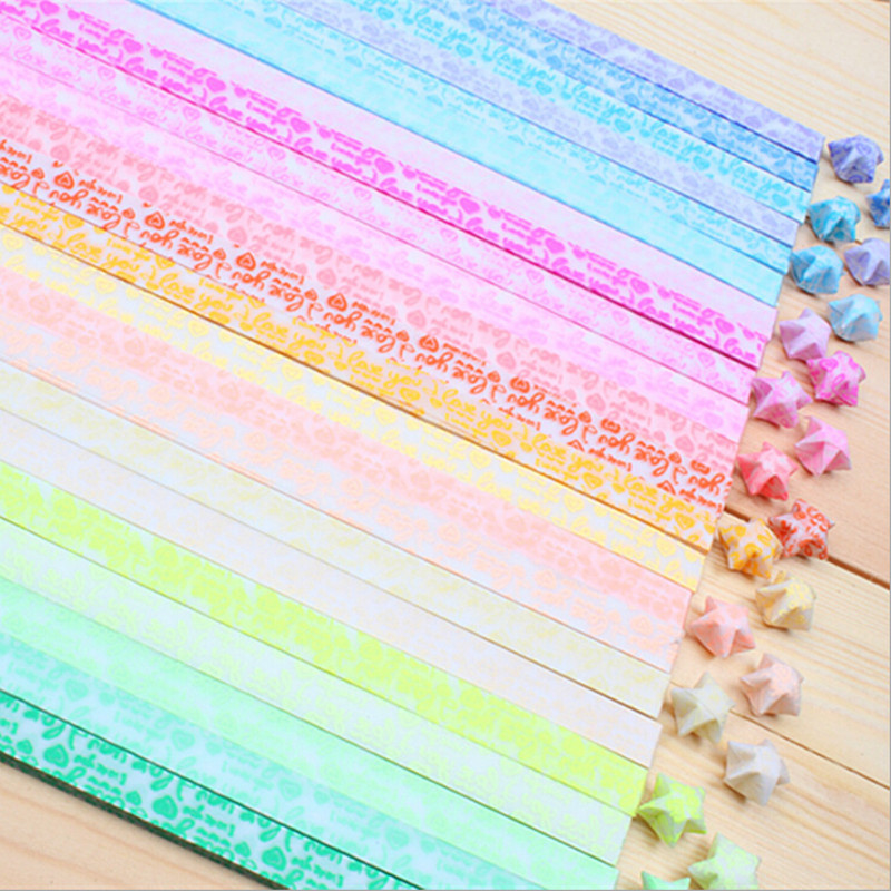 30pcs luminous lucky star paper folded origami paper for Diy lucky stars