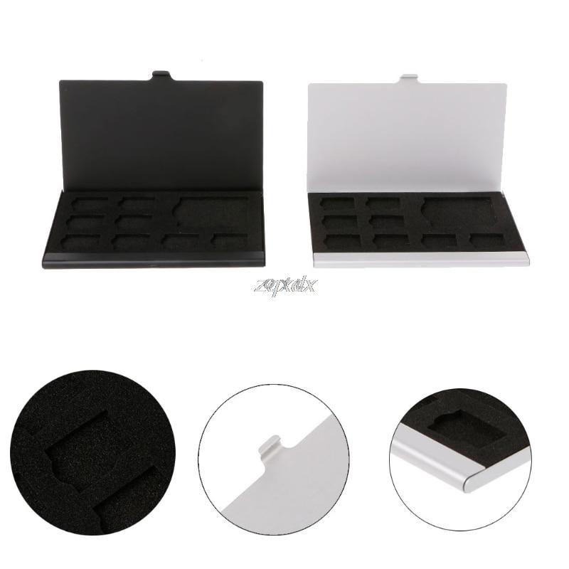 Portable Monolayer Aluminum 1SD+ 8TF Micro SD Cards Pin Storage Box Case Holder Memory Card Storage Cases Black