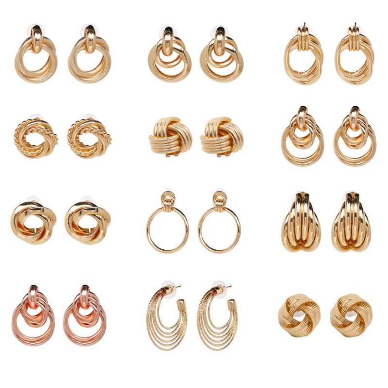 JUJIA 12 design big sale metal dangle earrings Trend fashion women vintage jewelry statement ZA gold color Earrings for women