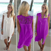 8 Colors Women Dress Summer Plus Size 3XL Sleeveless Womens Loose Beach Lace High Quality Dresses Vestidos