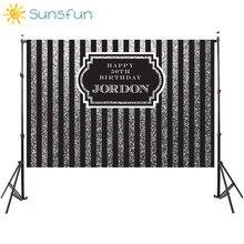Sunsfun 7x5ft Black Silver Vertical Adults Birthday Backdrops Frame Customize Background Computer Print Birthday Photo Backdrop