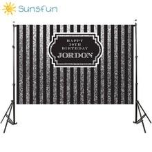 Sunsfun 7x5ft Schwarz Silber Vertikale Erwachsene Geburtstag Kulissen Rahmen Anpassen Hintergrund Computer Print Geburtstag Foto Hintergrund