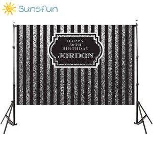 Image 1 - Sunsfun 7x5ft nero argento verticale adulti compleanno fondali cornice personalizza sfondo Computer stampa compleanno foto sfondo