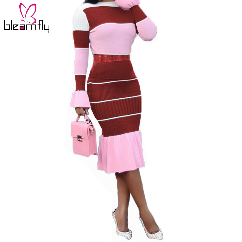 Sexy Two Piece Set Women Long Flare Sleeve Tops Knee Length Ruffles Skirt Sets Office Lady Matching Outfits Autumn Striped Suit