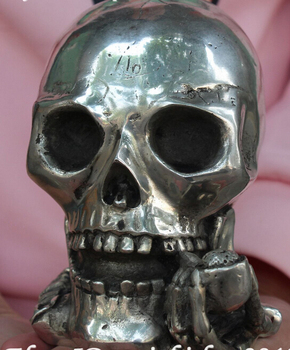decoration BRASS factory outlets Tibet Silver  Chinese Silver Skull Bone Human skeleton Death's head Cranium Smoking Statue