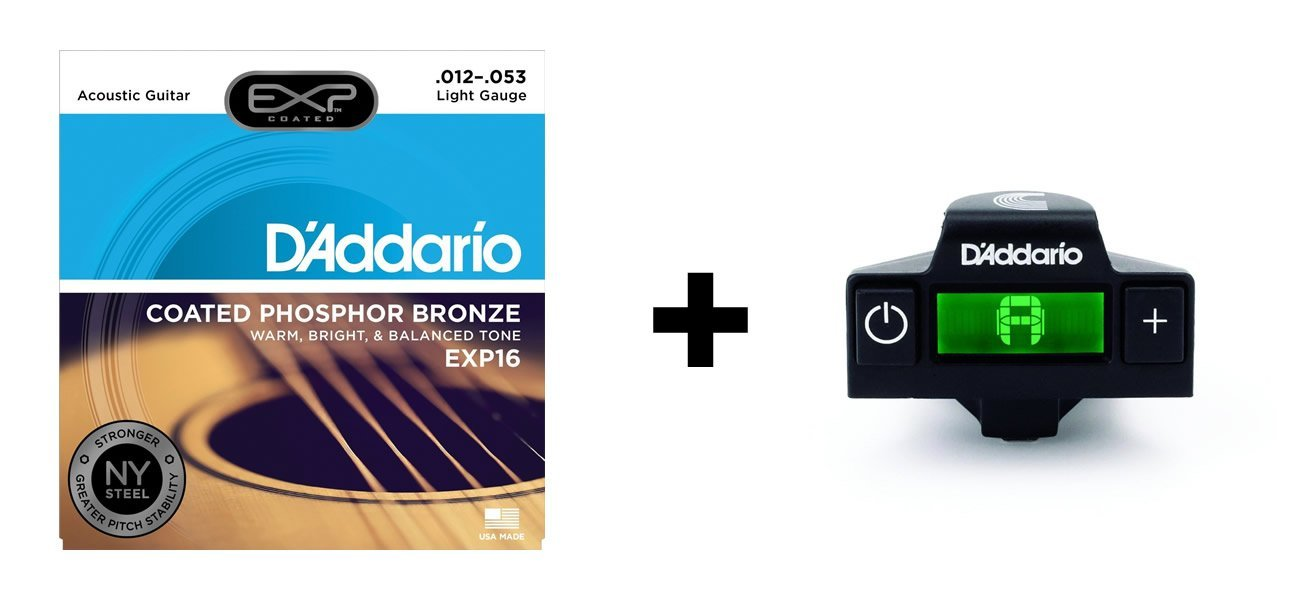 D'Addario EXP16 Coated Phosphor Bronze Acoustic Guitar Strings, Light (12-53) & NS Micro Soundhole Tuner Bundle firefight exp