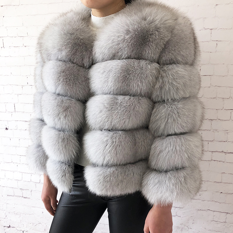 2019 new style real fur coat 100% natural fur jacket female winter warm leather fox fur coat high quality fur vest Free shipping 97
