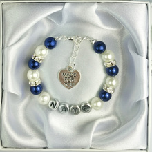 New Personalised Girl Birthday Wedding Gift Charm Bracelet Daughter With Box-navy blue