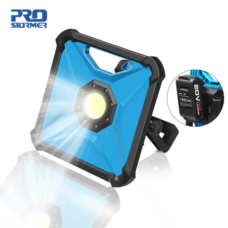 Prostormer 20V Cordless LED Portable Work Light Rechargeable 2000 mAh Battery Spotlight Multifunction Rechargeable LED Work