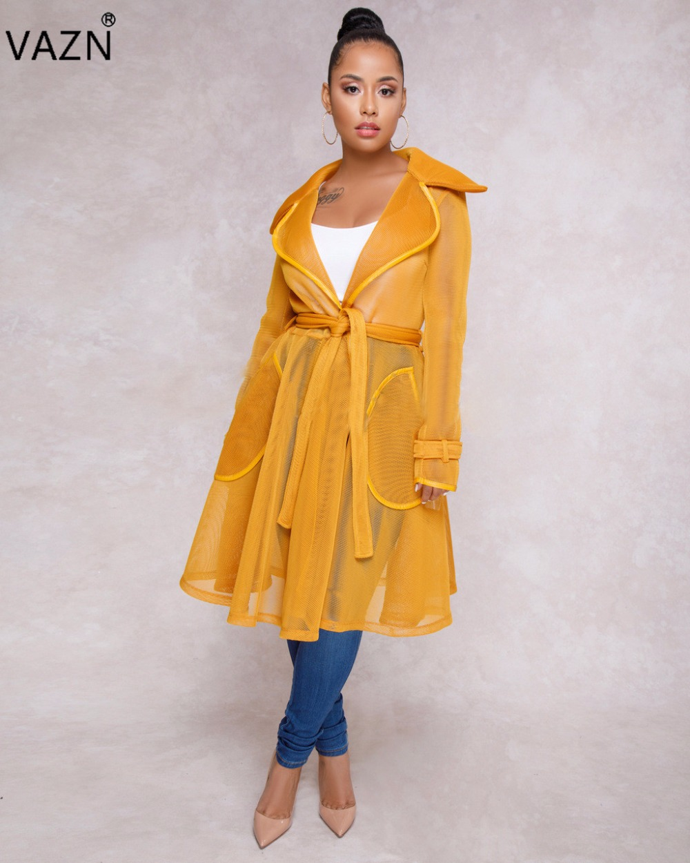 VAZN Autumn 2018 High Quality Temperate Casual Fashion Women Ball Gown Dress Solid Full Sleeve Lady Overalls Midi Dress MK0547