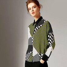 Blouse Women Shirt 100% Silk Drop-shoulder Design Dot Printed Turn-down Collar Long Batwing Sleeves Elegant Style Fashion 2019 цена 2017