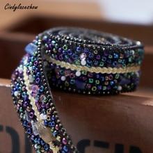 50cm 1.0cm Width Fake Pearls Stones Beaded Lace Trim Blue Fabric Paillette Lace Beaded Pearl Dress Trims Braid DIY Lace Applique plus lace panel pearl beaded dress