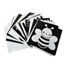 Tarjeta blanca y negra de 21x21 cm para entrenamiento Visual de bebé, tarjeta educativa para preescolar, tarjetas de animales, envío gratisEducación y Enseñanza
