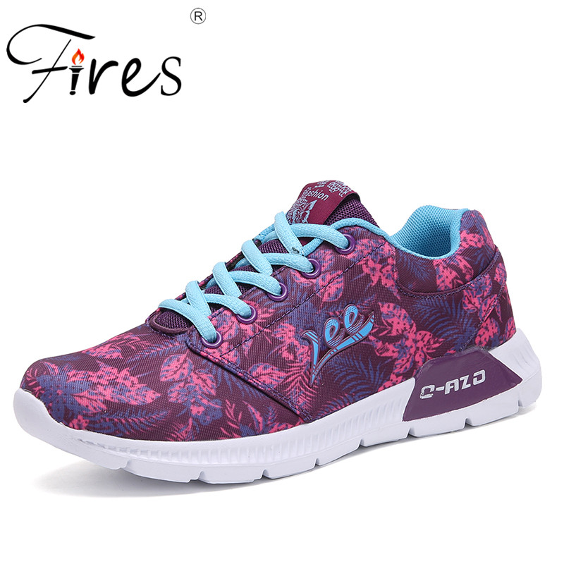 Fires Lady Printing Sport Shoes Mesh Breathable Women Running Shoes Three Color Trend Walking Shoes Female Outdoor Jogging Shoes