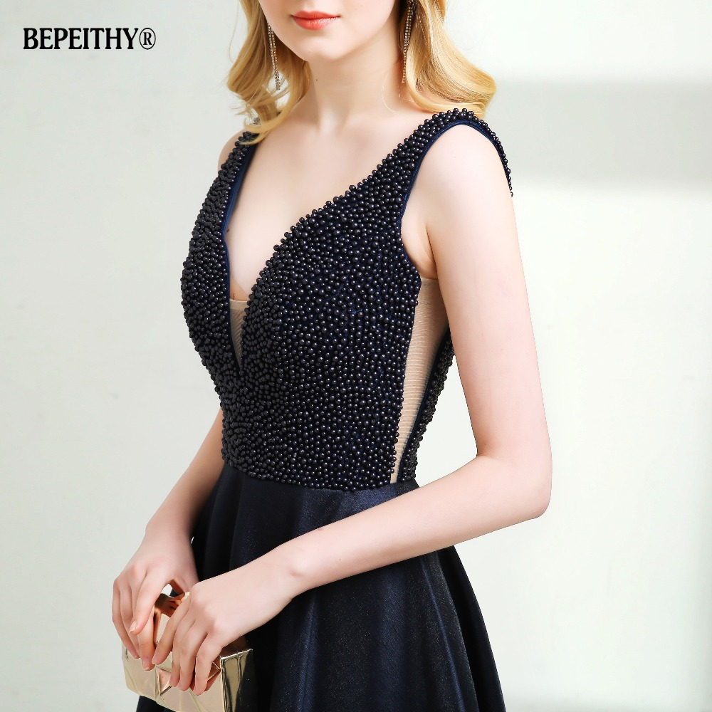 Sexy Backless Long Evening Dress Vestido De Festa 2019 Pearls Top New Prom Dresses Hot Sale