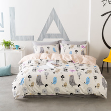 Cute Birds Printed Bed Linens For Adults 100% Cotton Flowers Duvet Cover Bed Sheet Pillow Case Twin Queen King Size Beddings