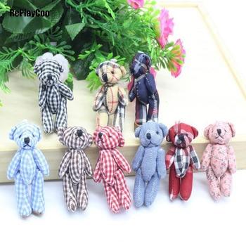 40Pcs/Lot Mini Teddy Bear Stuffed Plush Toys 8cm Small Bear Stuffed Toys pelucia Pendant Kids Birthday Gift Party Decort 09402