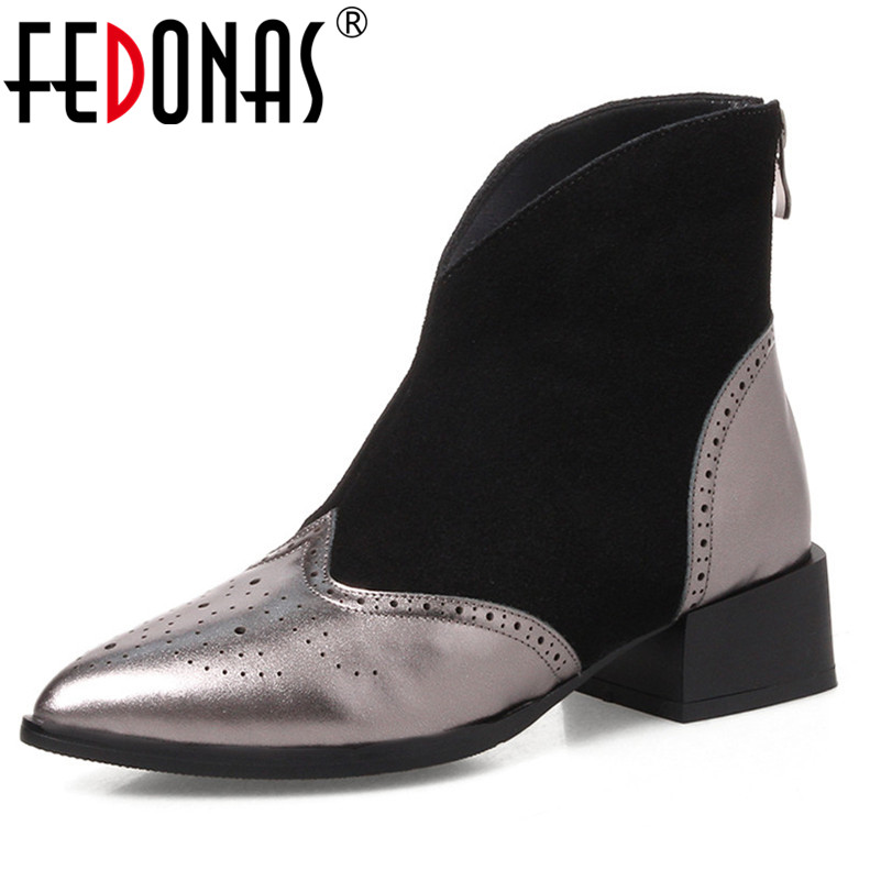 FEDONAS Fashion Women Ankle Boots High Heels Genuine Leather Martin Shoes Woman Zipper Sexy Party Night Club Motorcycle Boots fedonas brand women ankle boots punk high heels metal decoration party night club boots genuine leather martin shoes woman