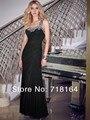 Largo negro gasa de un hombro de las mujeres vestido de noche con cristales rebordear ocasión especial vestido vestido de festa vestido de fiesta