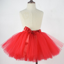 Red Fluffy Tutu Skirt for Girls-Fits Newborn to Young Girl-Nylon Tulle Classic Tutus-Baby Girls Birthday Party Skirt-Photo Props