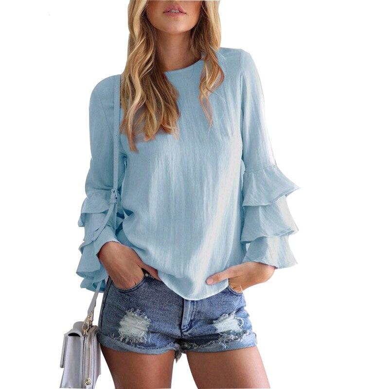 Women Chiffon Blouse Casual Summer Ruffles Long Sleeve Blue Shirt O neck Cool Blouse Shirt Women Tops Blusas Chemise Femme in Blouses amp Shirts from Women 39 s Clothing