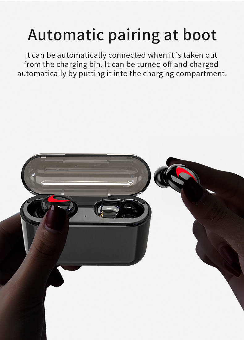 HBQ Wireless Bluetooth Earphones 5.0 With Mic For Hands free Call Charging Box 4