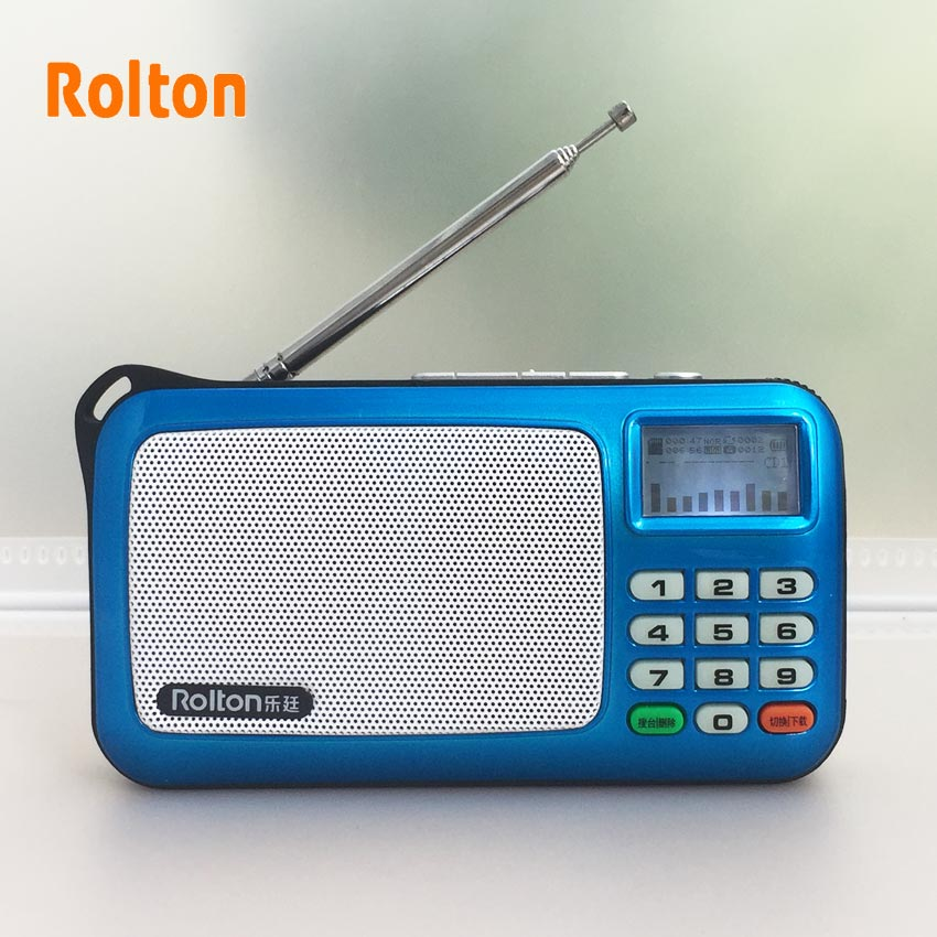 Rolton W505 Portable Radio LCD Dot Matrix Display Shows The Lyrics Sokongan USB Dan Kad Mini Speaker Claus Walkman Speaker Lithi