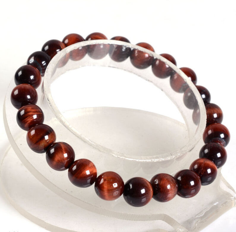 Handmade 10mm Natural Red Tiger's Eye Stone Round Beads Stretchy Bracelet 7.5 image