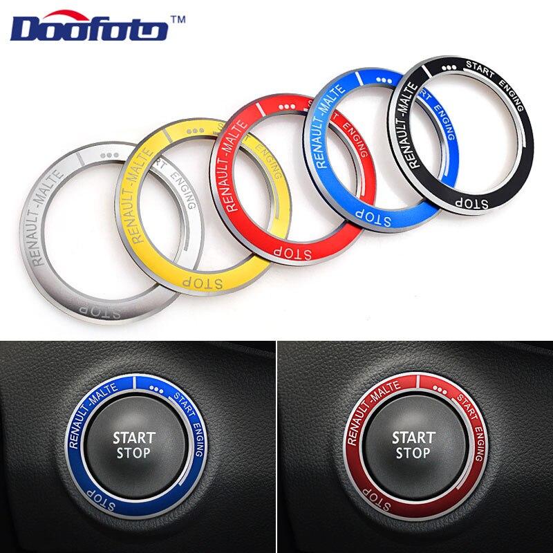 Doofoto Car Start Engine Button Key Rings Protection Internal Decoration Car Styling Case For Renault Kadjar Megane Duster 2019