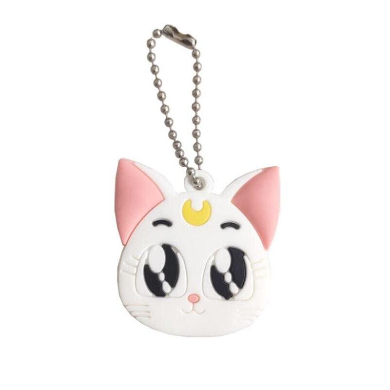 Аниме Сейлор Мун Луна Фиолетовый кот брелок косплей милый кулон брелок - Цвет: Белый