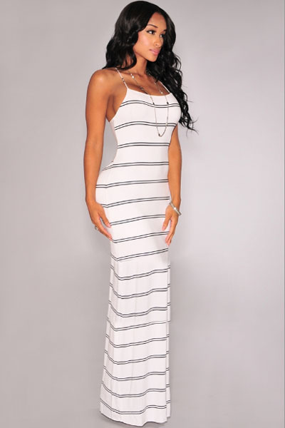 f25281b59aab5 Sexy Women Summer Long Dresses Black and White Striped Twist Cut Out Back Maxi  Dress LC60385-in Dresses from Women's Clothing on Aliexpress.com | Alibaba  ...