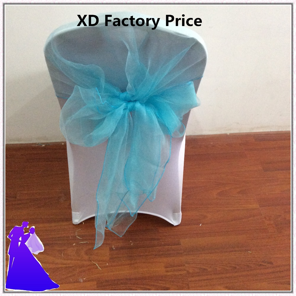 Chair sashes styles - Turquoise Organza Chair Sashes