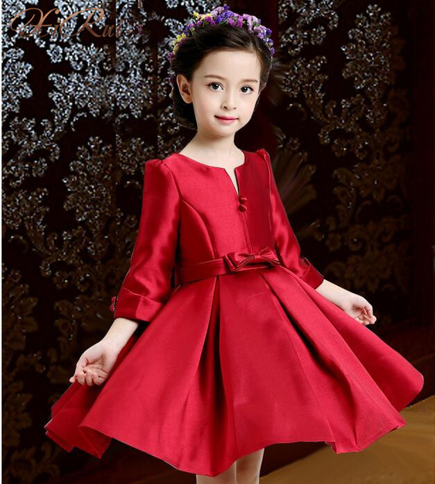 цены  Satin girls party dresses elegant autumn Three Quarte flower lace bow princess girl dress children kids wedding birthday dresses