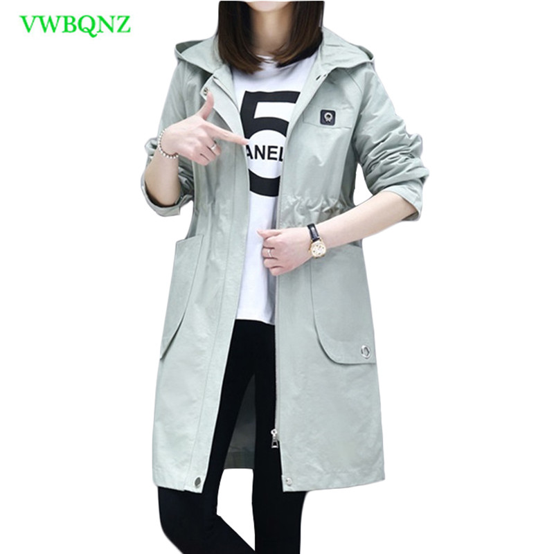 2018 Fashion Women Windbreaker coat Spring Autumn Splice Hooded Overcoat Women's Slim Thin Long High quality   Trench   coats A210