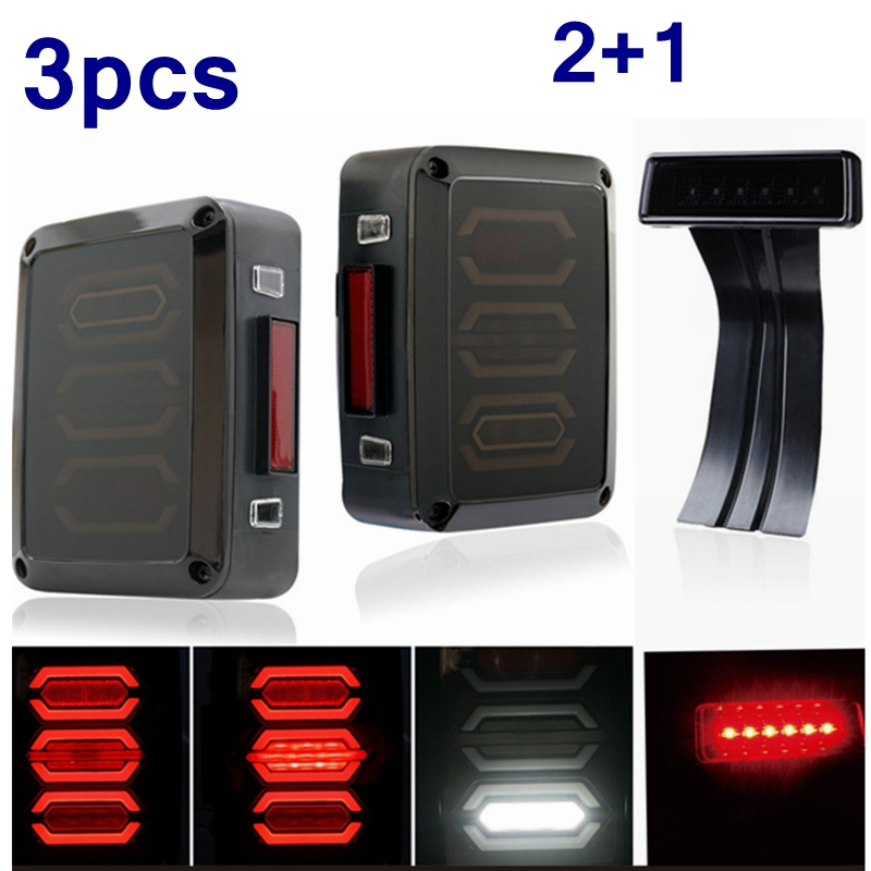 (3шт) дым LED задний фонарь комбинированный задний 3-й третий стоп-сигнал для 07-17 Wrangler Виллиса