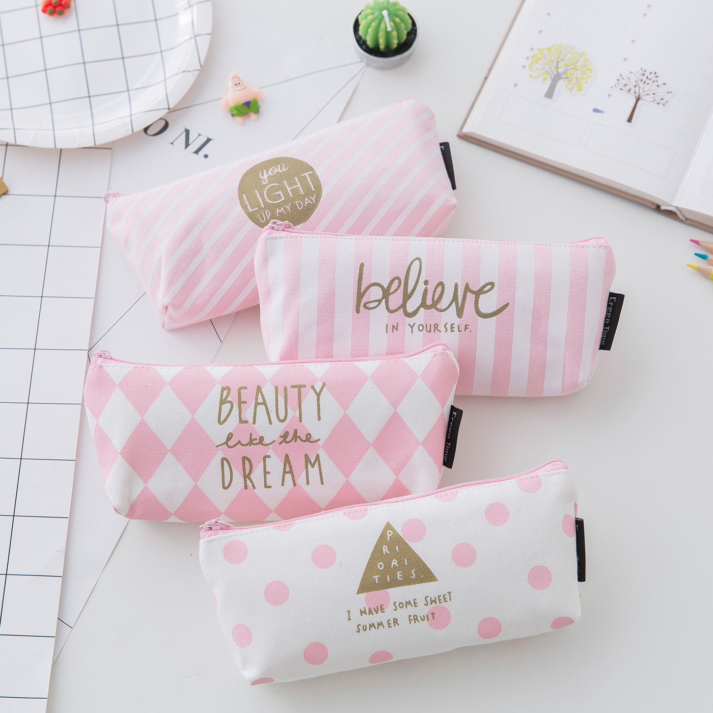 Laamei 1PC Cosmetic Bag Women Canvas Pink Sweet Pencil Case Makeup Bag Beauty Pouch Cosmetic Organizer Portable Student Bag